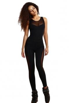 Womens Mesh Patchwork Cutout Back Sleeveless Jumpsuit Black