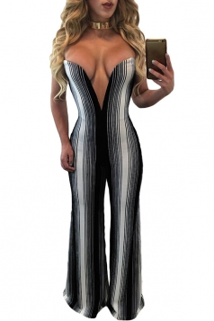Womens Sexy Strapless White Stripes Deep V-Neck Jumpsuit Black