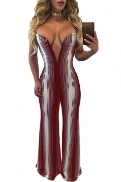 Womens Sexy Strapless Stripes Deep V-Neck Jumpsuit Ruby