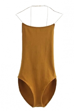 Womens Sexy Cross Straps Backless Bodysuit Yellow