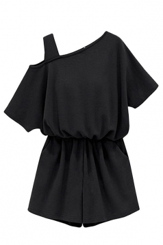 Womens Plus Size One Shoulder Elastic Waist Romper Black