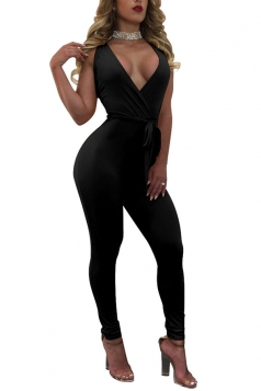 Womens Sexy Deep V-neck Fitting High Waist Sleeveless Jumpsuit Black