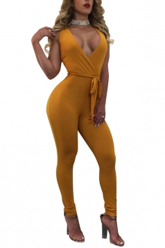 Womens Sexy Deep V-neck Fitting High Waist Sleeveless Jumpsuit Yellow