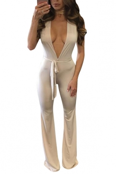 Womens Sexy Halter Deep V-neck Backless Wide Leg Jumpsuit Apricot
