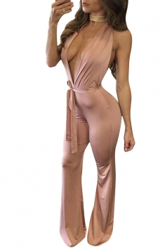 Womens Sexy Halter Deep V-neck Backless Wide Leg Jumpsuit Pink