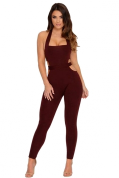 Womens Sexy Halter Backless Hollow Out Waist Jumpsuit Ruby