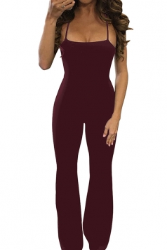 Womens Sexy Crisscross Straps Backless Wide Legs Jumpsuit Ruby