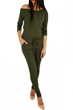 Womens Hollow Out Shoulder Draw String Waist Jumpsuit Army Green