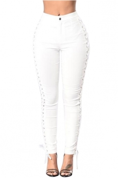 Womens Keyhole Lace-up Sides High Waist Leggings White