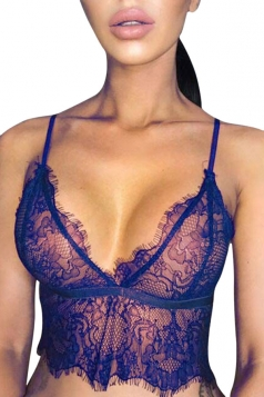 Womens Hollow Out Lace Sheer Crop Lingerie Bra Top Blue