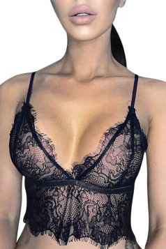Womens Hollow Out Lace Sheer Crop Lingerie Bra Top Black