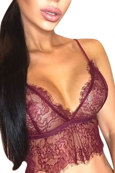 Womens Hollow Out Lace Sheer Crop Lingerie Bra Top Ruby