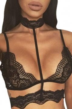 Womens Sexy Sheer Lace Trim Choker Plain Bra Black