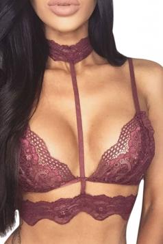 Womens Sexy Sheer Lace Trim Choker Plain Bra Dark Red