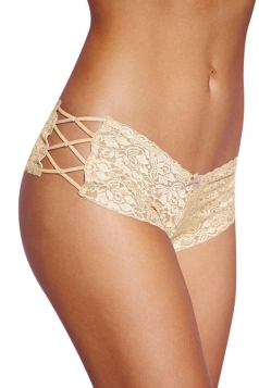 Womens String Cutout Plus Size Panty Apricot