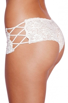 Womens String Cutout Plus Size Panty White