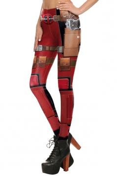 Womens Elastic Digital Armour Printed Ankle Length Leggings Ruby