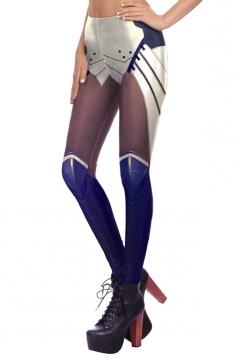 Womens Digital Armour Printed Elastic Ankle Length Leggings Navy Blue
