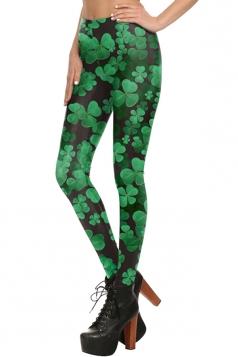 Womens Elastic Digital Clover Printed Ankle Length Leggings Green