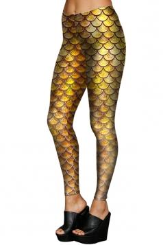 Womens Stretchy Digital Mermaid Fish Scale Printed Leggings Gold