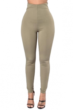 Womens Plain Ankle Length Zipper High Waist Leggings Army Green