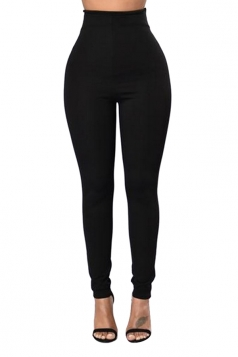 Womens Plain Ankle Length Zipper High Waist Leggings Black