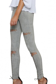 Womens Faux Suede Keyhole Cross Lace-up High Waist Leggings Gray
