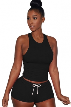 Womens Plain Tank Top Drawstring Waist Shorts Sports Suit Black
