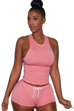Womens Plain Tank Top Drawstring Waist Shorts Sports Suit Pink