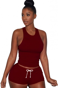 Womens Plain Tank Top Drawstring Waist Shorts Sports Suit Ruby