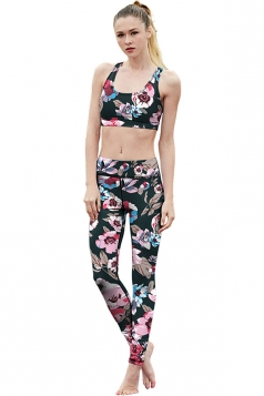 Womens Flower Printed Racer Back Crop Top&Sports Pants Suit Pink