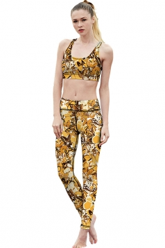 Womens Butterfly Printed Racer Back Crop Top&Sports Pants Suit Yellow