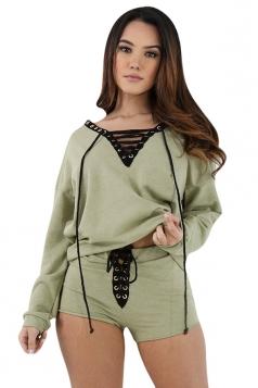 Womens V-neck Cross String Long Sleeve Top&Short Pants Set Green