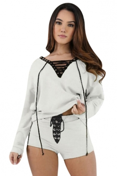Womens V-neck Cross String Long Sleeve Top&Short Pants Set White
