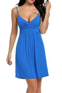 Womens Sexy Straps Knitting Pleated Sleepwear Sapphire Blue
