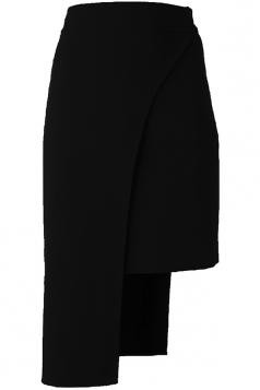 Womens Plain Asymmetric Hem Pencil Skirt Black