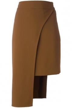 Womens Plain Asymmetric Hem Pencil Skirt Khaki