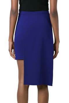 Womens Plain Asymmetric Hem Pencil Skirt Sapphire Blue