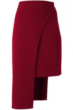 Womens Plain Asymmetric Hem Pencil Skirt Ruby