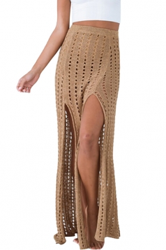 Womens High Waist Hollow Out Slit Crochet Maxi Skirt Khaki