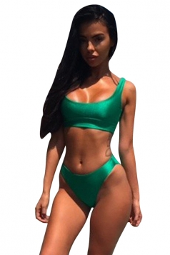 Womens Plain Sports Style 2pcs Tankini Set Green