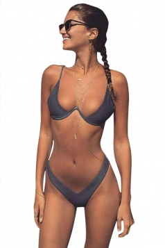 Womens 2PCS Low Rise Plain Micro Mini Bikini Set Gray