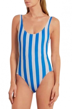 Womens Color Block Striped Backless One Piece Swimsuit Blue