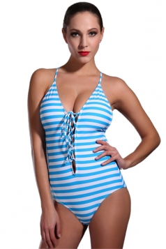 Womens Striped Lace Up Backless One Piece Swimsuit Blue