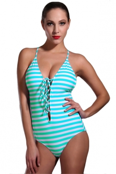 Womens Striped Lace Up Backless One Piece Swimsuit Green