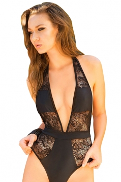Womens Halter Low Cut Lace Splicing Backless One Piece Swimsuit Black