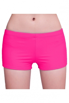 Womens Plain Sports Boy Shorts Swimsuit Bottom Rose Red