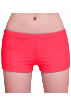 Womens Plain Sports Boy Shorts Swimsuit Bottom Red