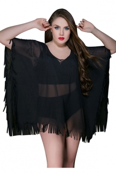 Womens Sheer V Neck Ruffled Loose Plain Beach Dress Black