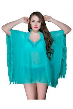 Womens Sheer V Neck Ruffled Loose Plain Beach Dress Green